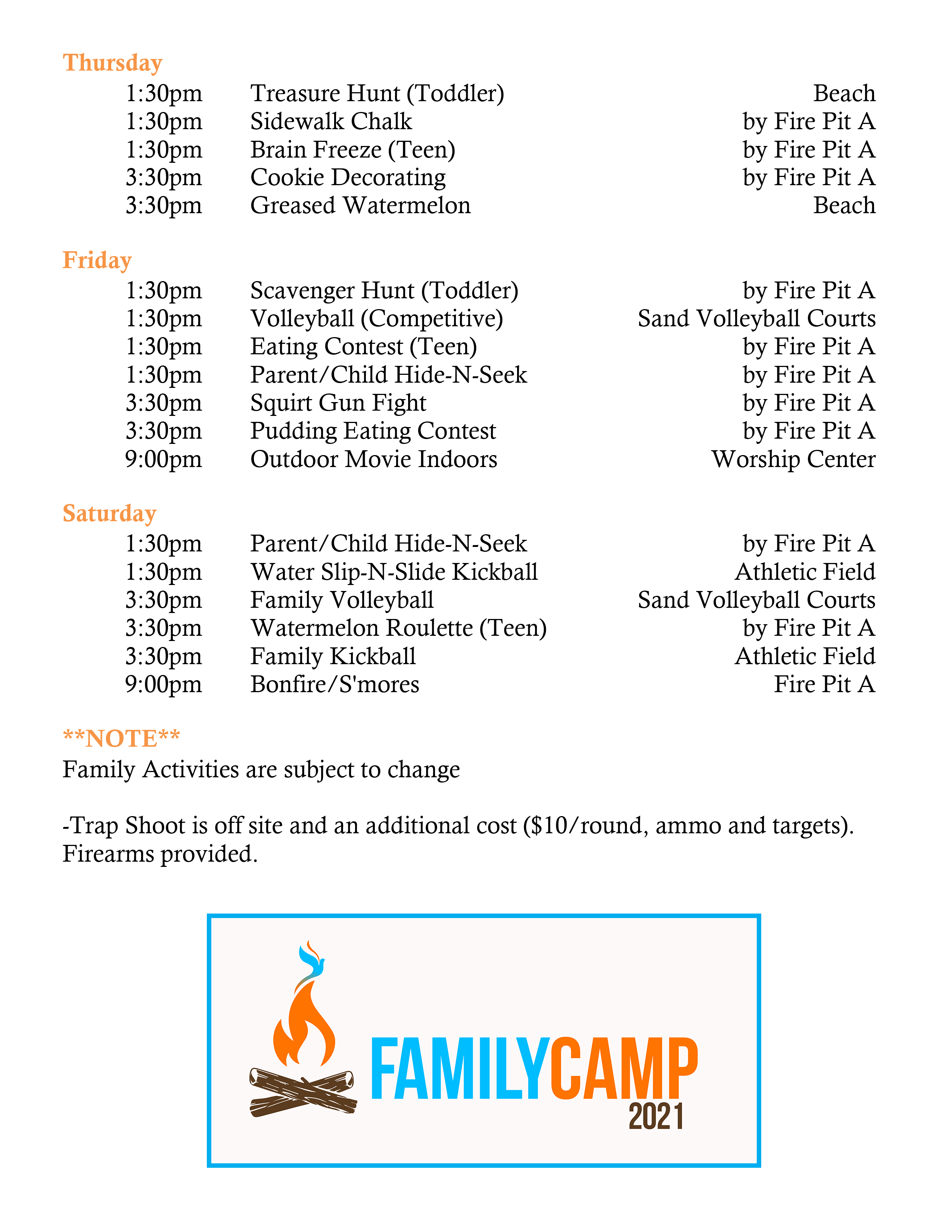 Activity Schedule Page 2